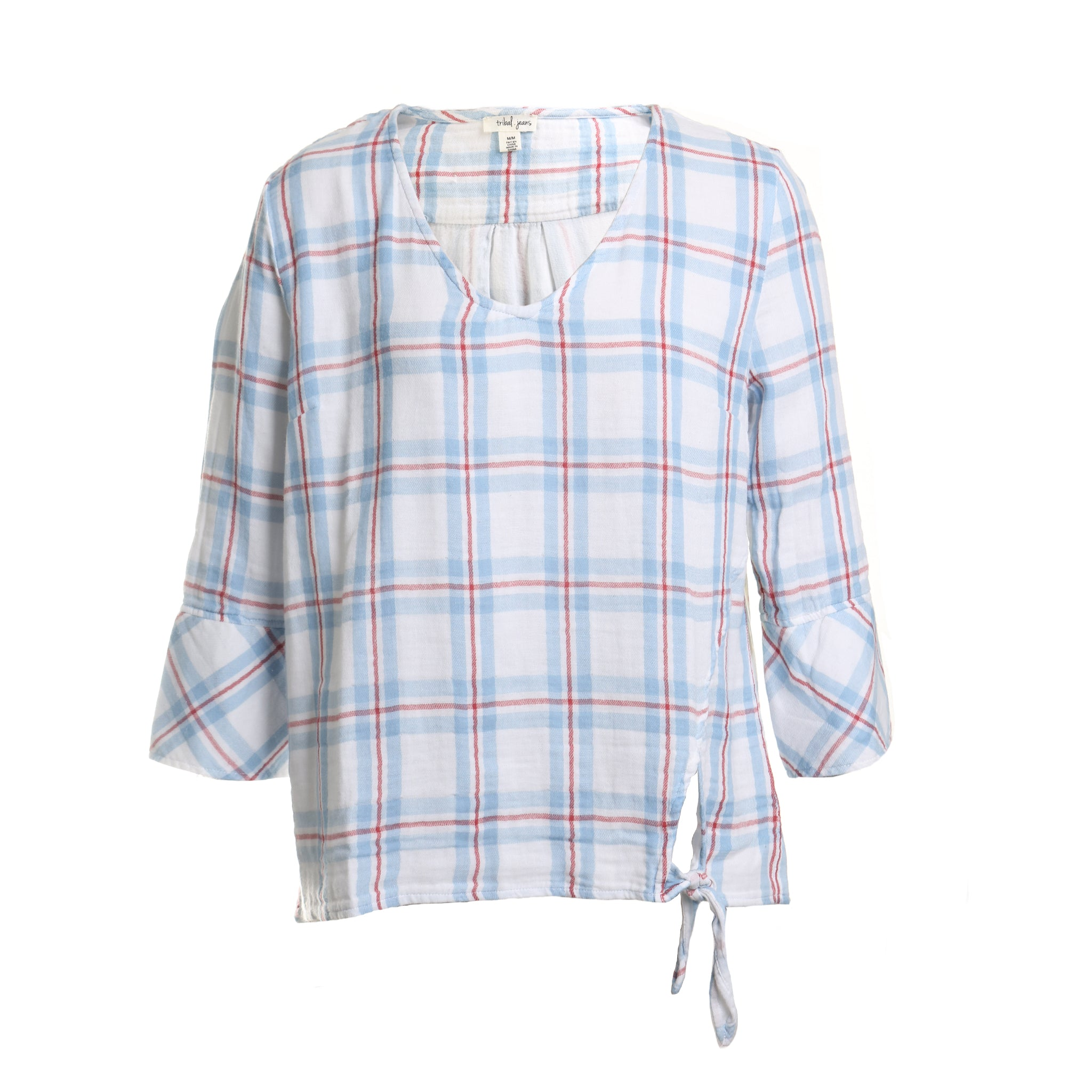 Bell Sleeve Knot Plaid Printed Blouse