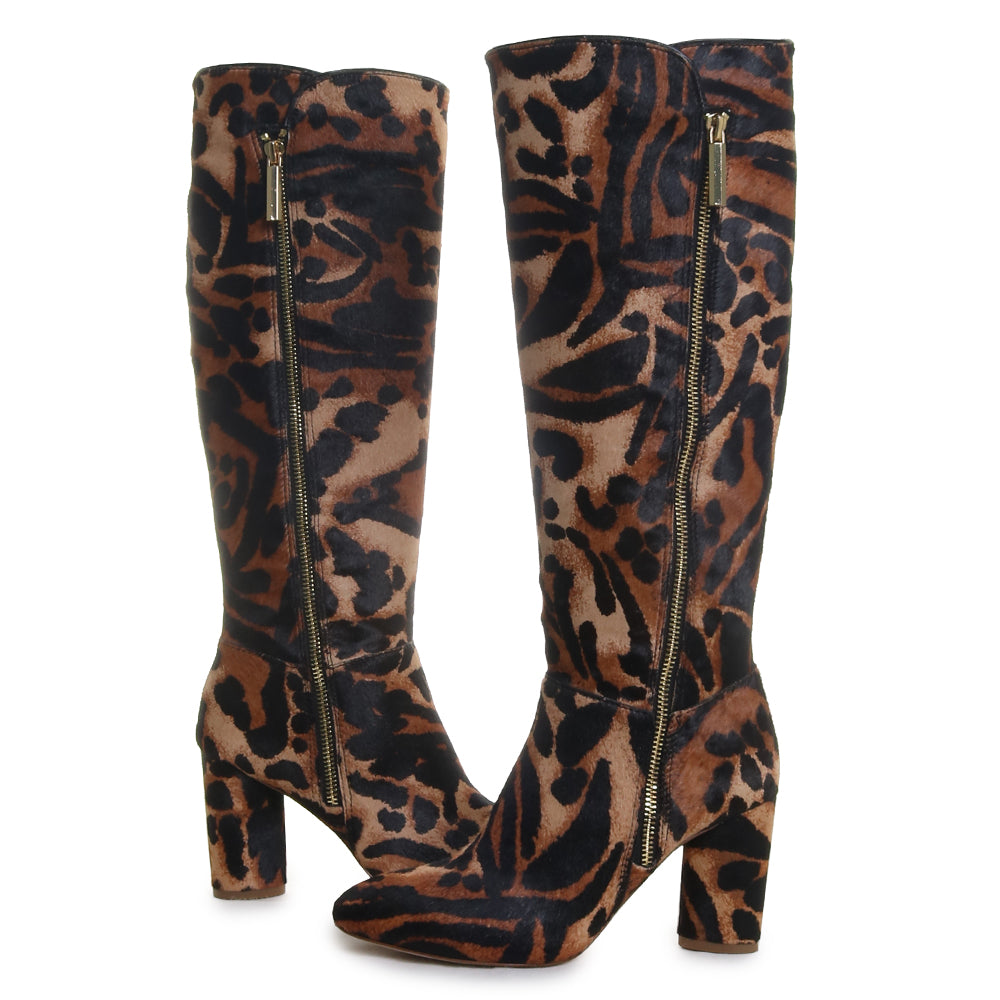Zenia3 Animal Print Block Heel Boot