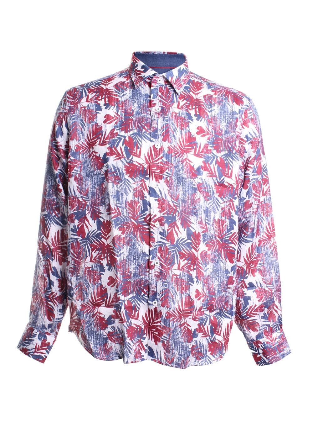 Linen Floral Printed Button Down Shirt