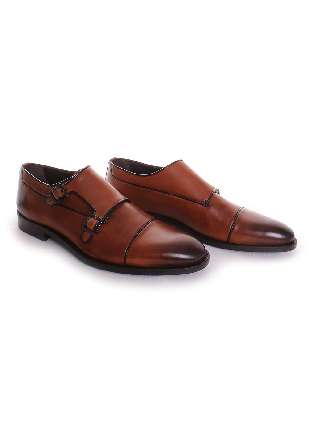 Canali Double Strap Monk Oxfords in Brown