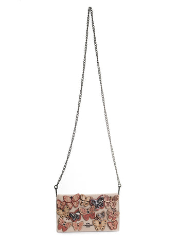 Callie Foldover Chain Clutch With Butterfly Applique in Ivory