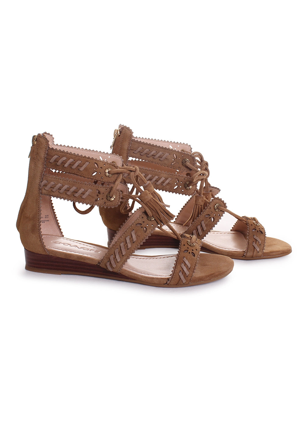 Via Wedge Sandals in Peanut Oat