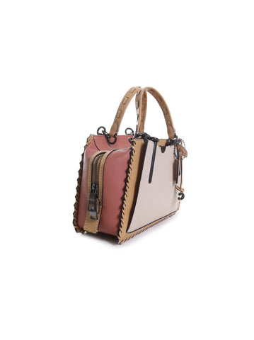 Dreamer Whipstitch Leather Handbag in Ivory Multi