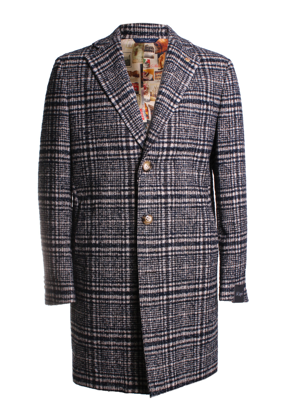 Gi Capri Plaid Overcoat in Black/Brown