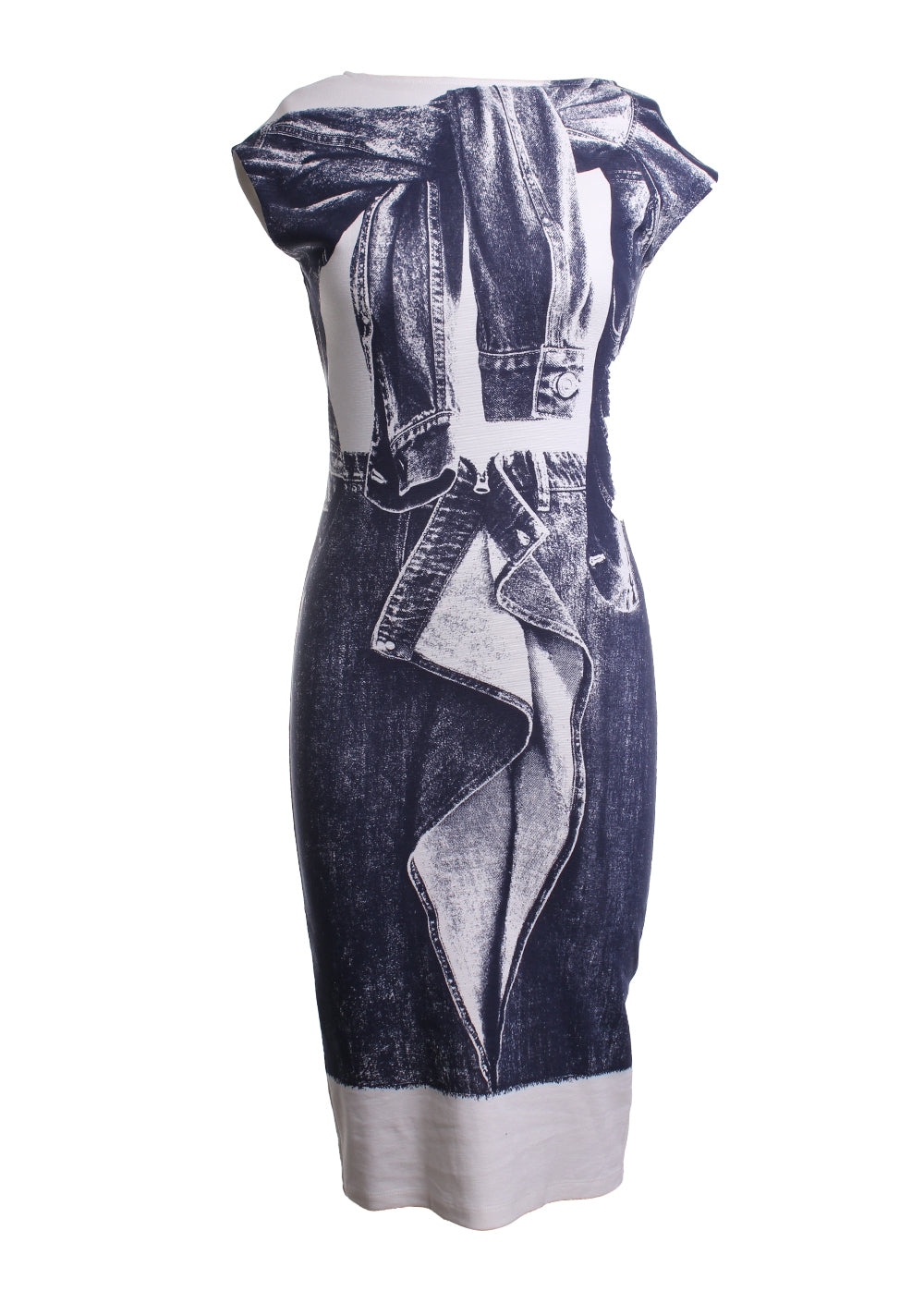 Denim Printed Shift Dress