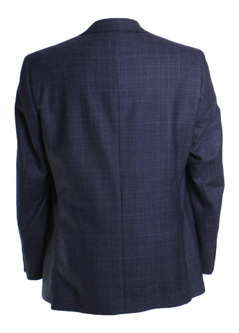 Wool Long Sleeve Gingham Plaid Button Front Blazer Sportcoat in Blue