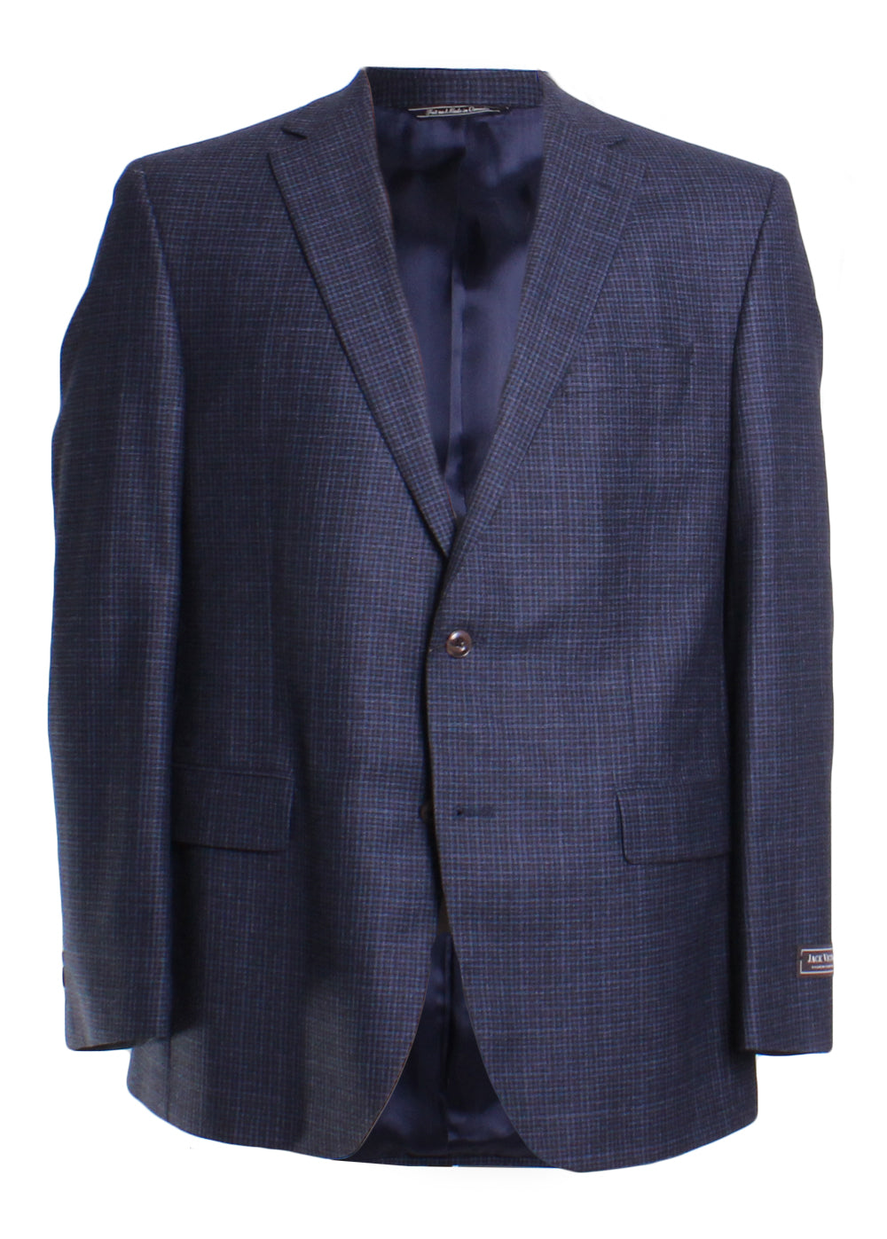 Jack Victor Men's Wool Long Sleeve Gingham Plaid Button Front Blazer Sportcoat in Blue