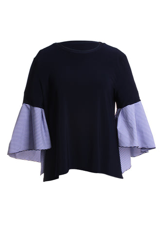 Striped Ruffled Sleeve Blouse Top