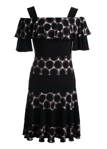 Flare Polka Dot Cold Shoulder Dress