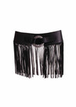 Leatherock Wide Fringe Belt in Black
