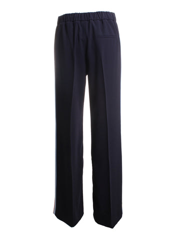 Marella Nodo Racing Stripe Trousers Pants in Midnight Blue