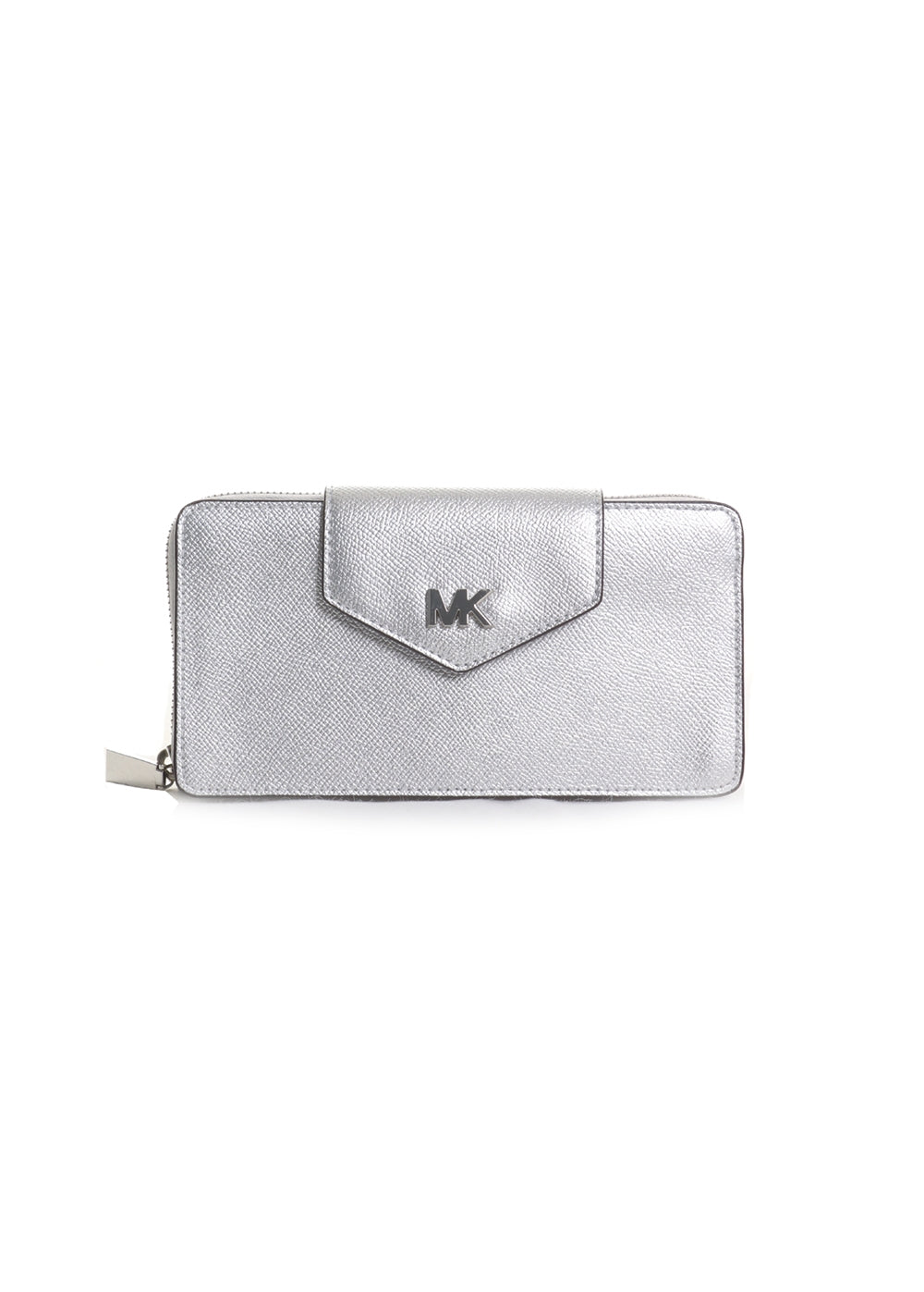 Small Phone Leather Crossbody in Silver
