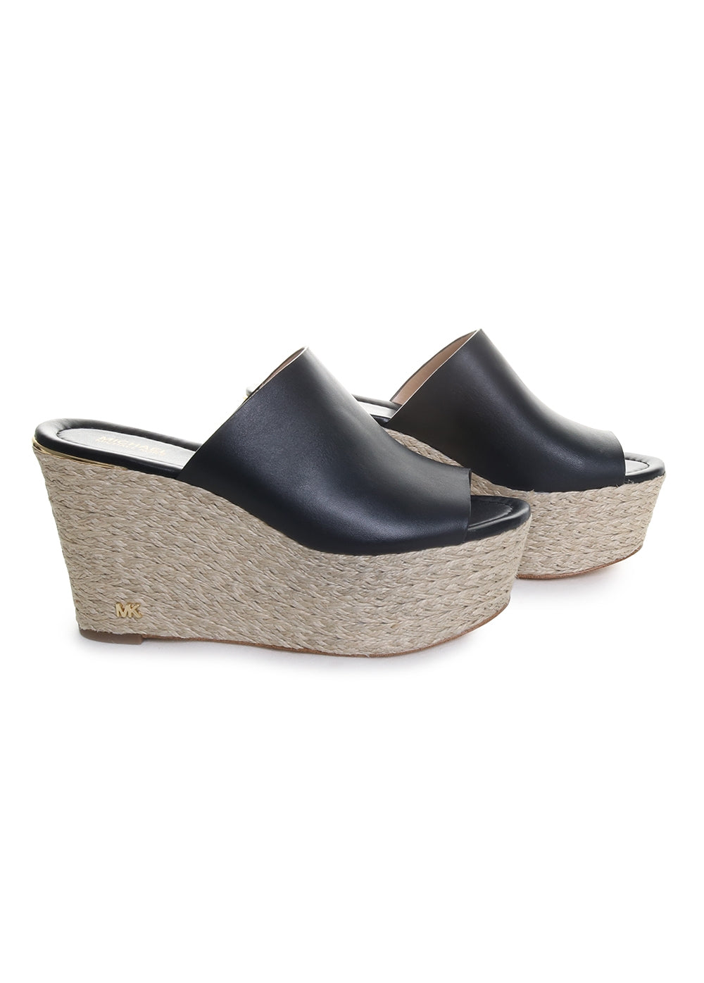 Cunningham Leather Woven Open Toe Wedges in Black