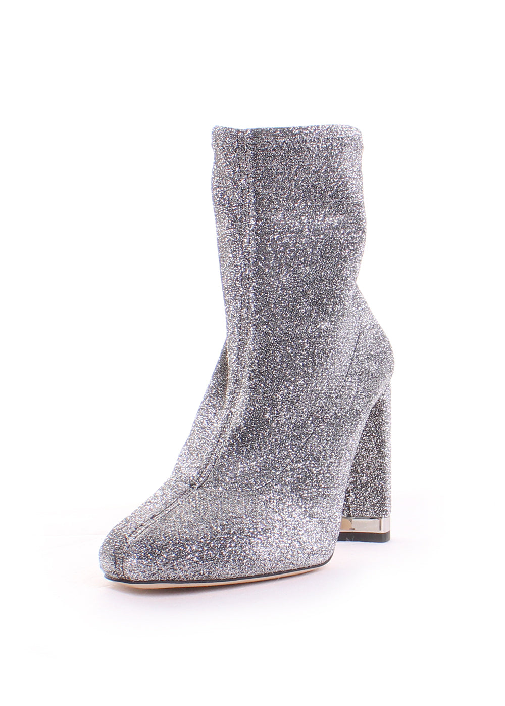 Michael Kors Mandy Glitter Stretch-Knit Bootie in Black/Silver
