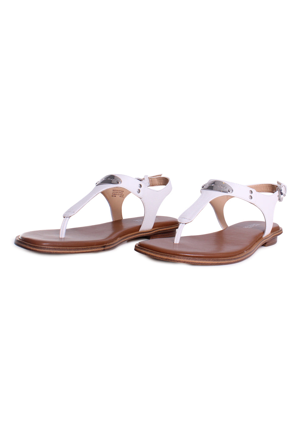 Michael Kors Plate Leather T-Strap Thong Sandal in Optic White