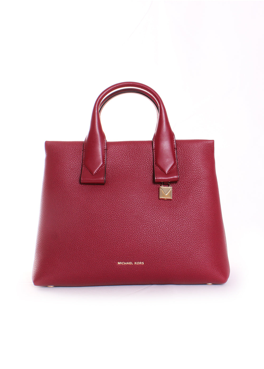 Michael Kors Rollins Large Pebbled Leather Satchel in Maroon