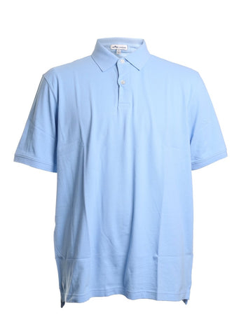 Crown Classic Pique Cotton Polo Shirt in Cottage Blue