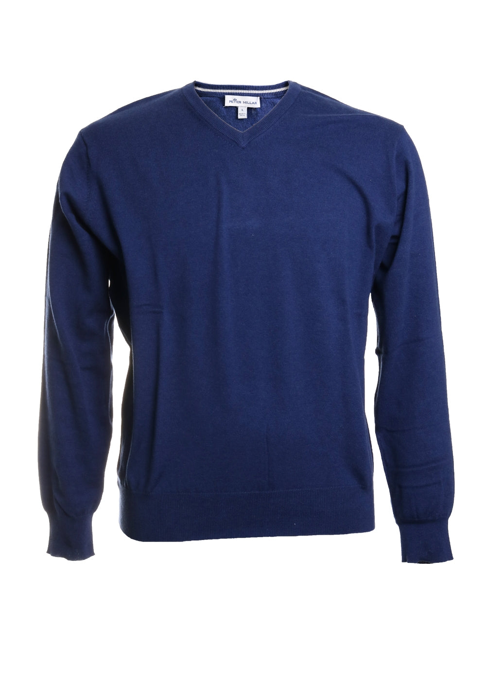 Peter Millar Men's Soft Cotton Long Sleeve V Neck Sweater in Navy