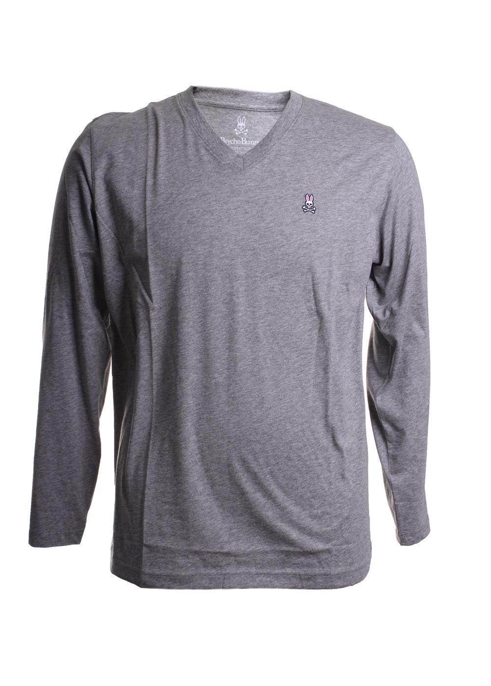 Psycho Bunny Long Sleeve V-Neck Tee in Heather Grey