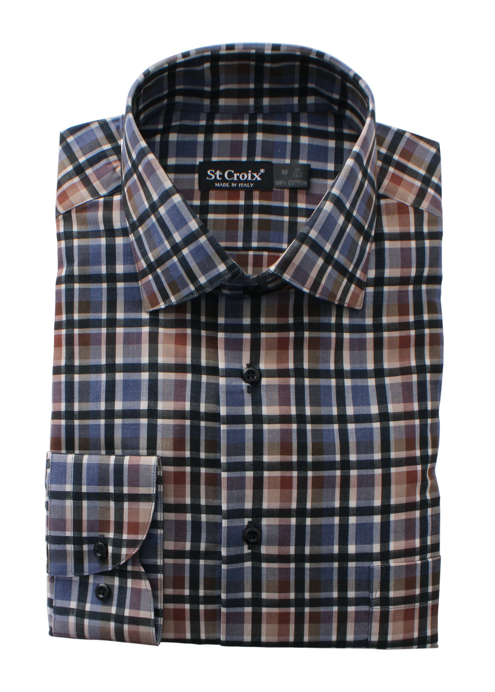 St. Croix Shadowbox Plaid Sport Shirt in Blue Tan