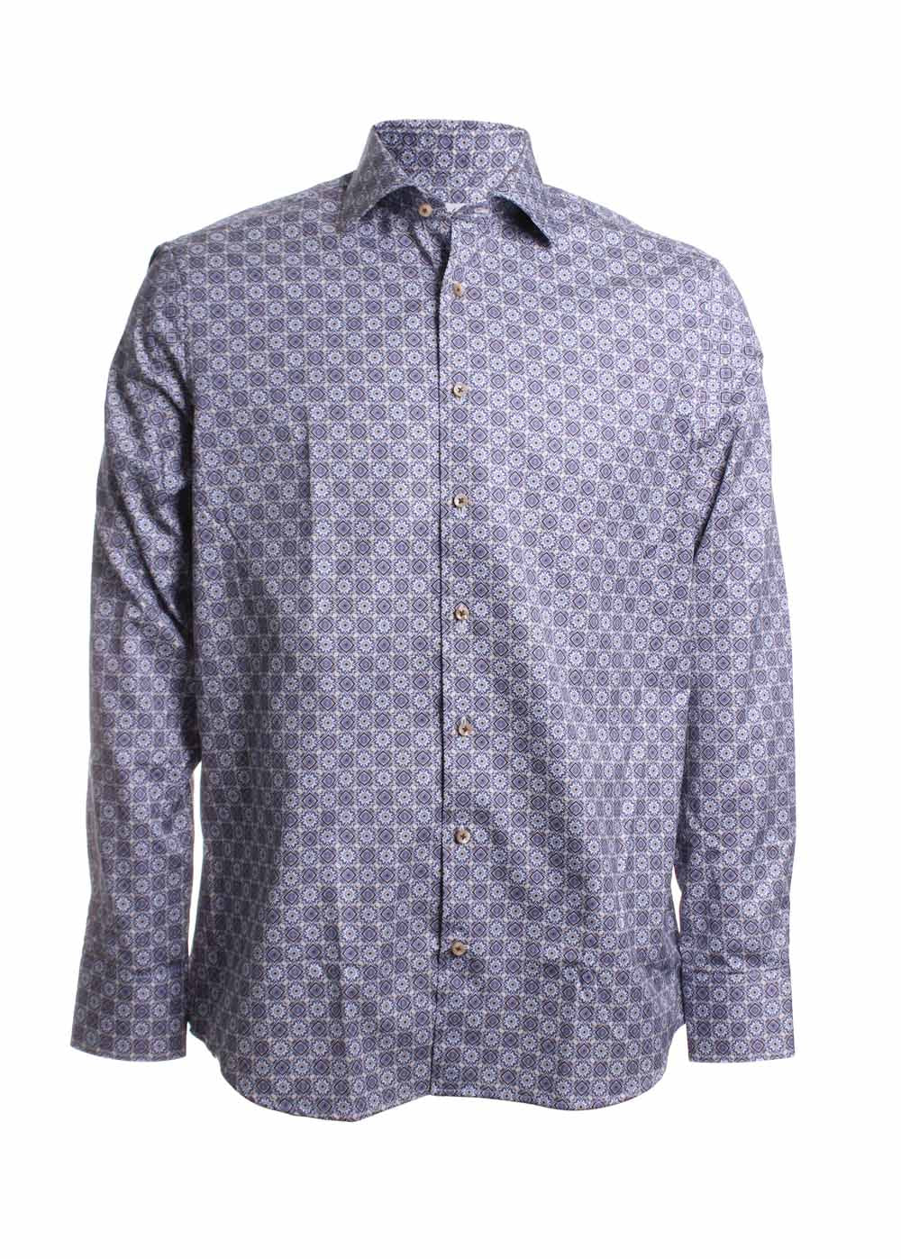 Stenstroms Kaleidoscope Printed Dress Shirt in Blue