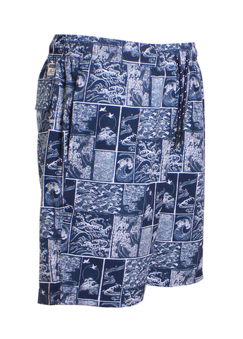 Wave Block Volley Swim Trunks in Navy/White
