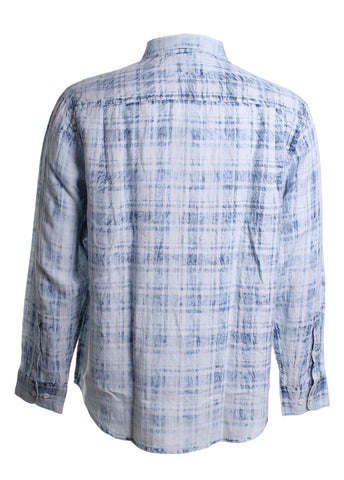 Indigo Sun Fade Linen Button Down Shirt