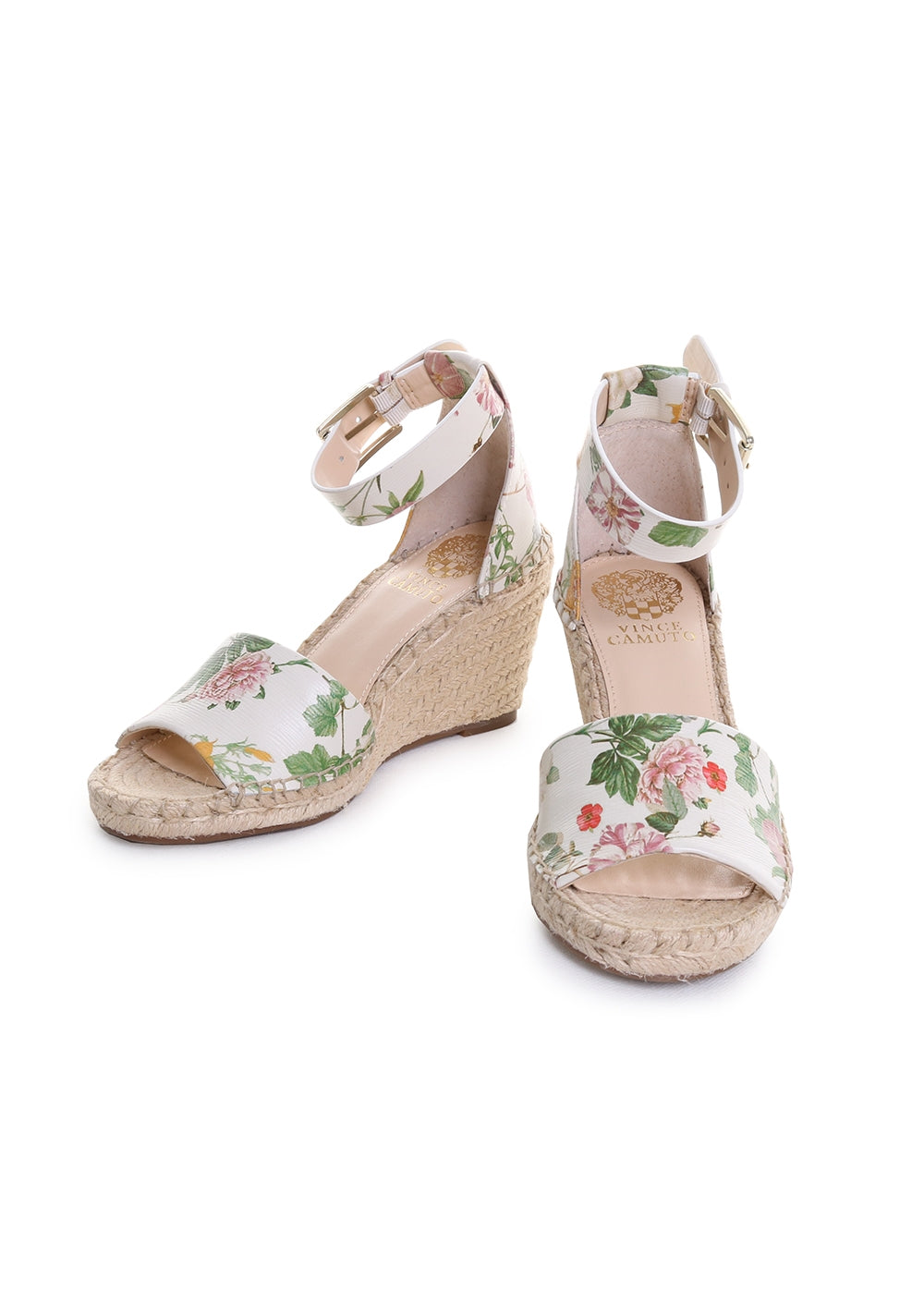 Leera Floral Leather Ankle Strap Espadrille Wedge Sandals