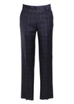 Zanella Todd Flat Front Plaid Trousers in Blue