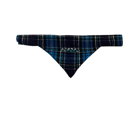 BLUE PLAID POCKET - Over the Collar Dog Bandana