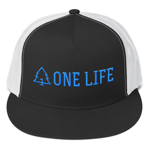 ONE LIFE BLUE LOGO - 5 Panel Trucker Hat