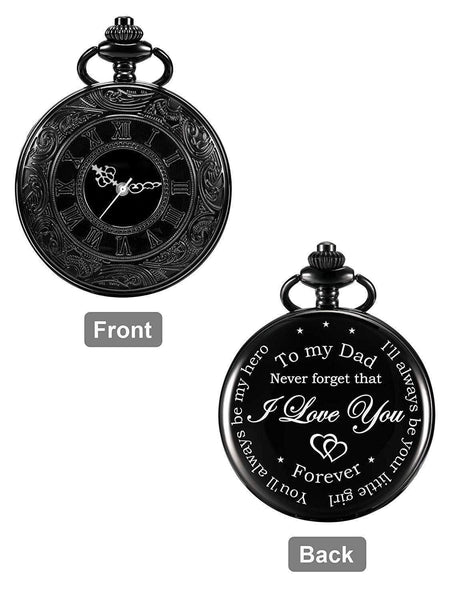 Montre de Poche  Dos Personnalisé Gravé I'll Always Be Your Little Girl, You'll Always Be My HeroDad  from Daughter - Atoutgirls.com