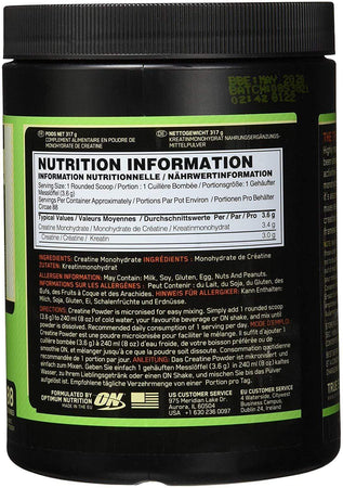 Optimum Nutrition Creatine non aromatisée 317 g - Atoutgirls.com
