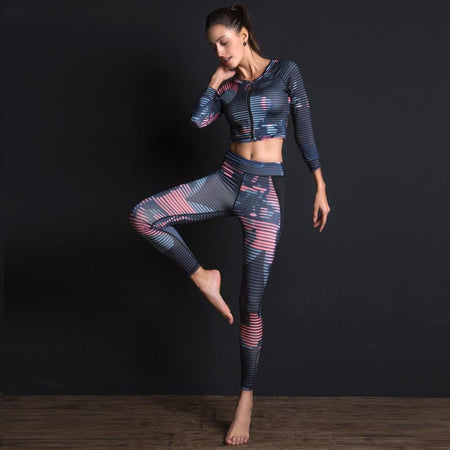 Legging et top Blue-pink line - Atoutgirls.com