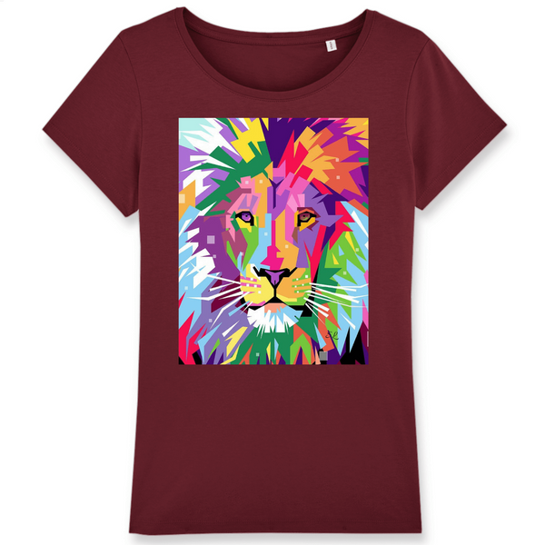 T-shirt Femme 100% Coton BIO - Wants - Stanley/Stella- Lion pop art - Atoutgirls.com