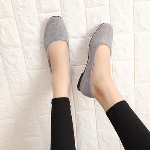 Spring Autumn Square Head  Fashion Flat Suede Wild  Shoes
