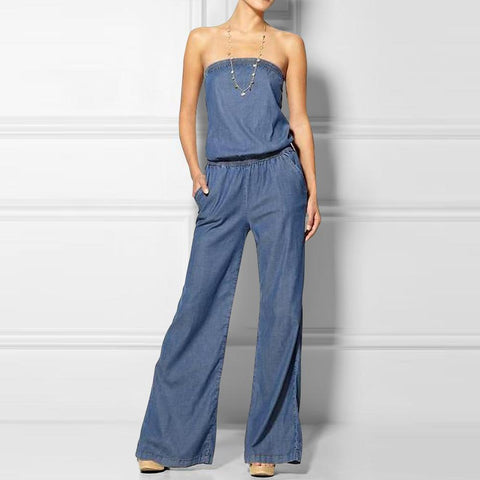 Tube Thin Strapless Chambray Jumpsuit