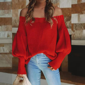 Ladies Fashion Sexy Off Shoulder Knit Sweater