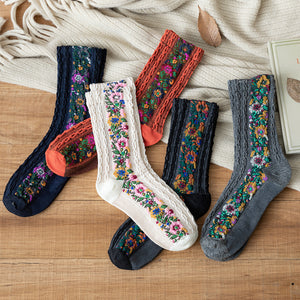 Vintage Women Ethnic Flower Mid Tube Socks