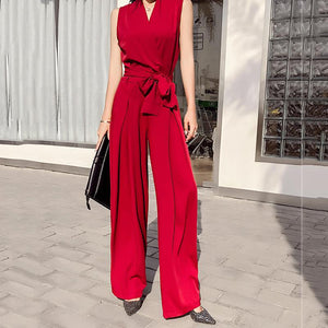 Sexy V Neck Bow Sleeveless Pure Colour Jumpsuit