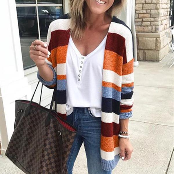 Autumn And Winter   Fashion Striped Knitted Cardigan