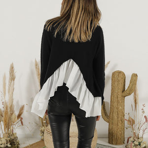 Fashionable solid color long sleeve splicing sweater