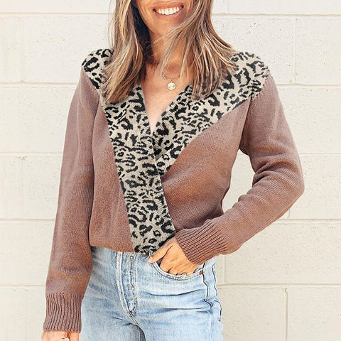 Ladies fashion mosaic leopard V-neck sweater