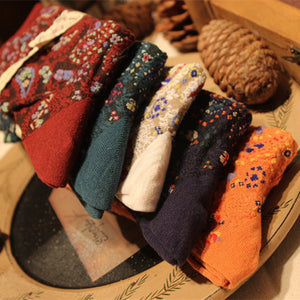 Women's vintage fabric printed cotton socks