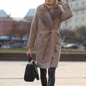 Women's fashion khaki fur collar long sleeve coat