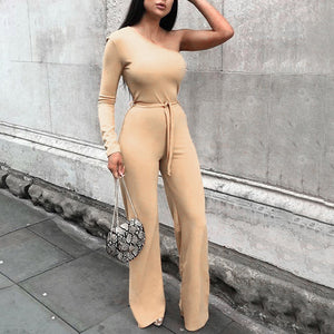 Fashion Solid Color Shoulder Straps Slim Wide Leg Jumpsuit