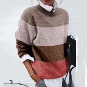 Net red style color striped round neck female sweater