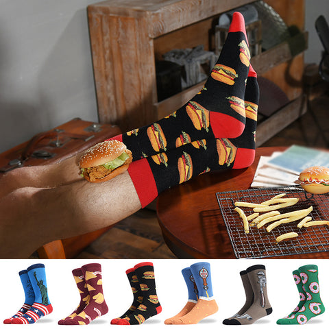Creative Printed High Tube Men Socks