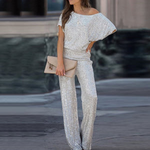 Fashion off-the-shoulder bat sleeve shiny jumpsuit