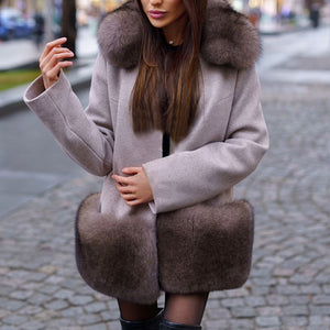 Fashionable wool collar solid color long sleeve coat